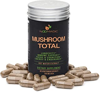 Mushroom Total, 60 Capsules, 500mg, 30% Beta Glucans, Adaptogenic Mushroom Complex of Lions Mane, Turkey Tail, Chaga, Reis...