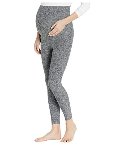 Beyond Yoga Maternity Empire Waisted Spacedye Capri Leggings (Black/White Spacedye) Women