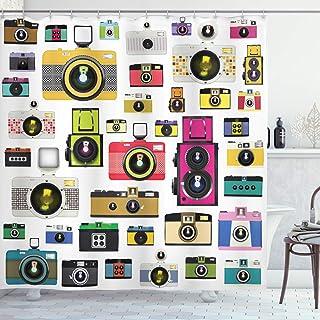 ABAKUHAUS Vintage Cortina de Baño Cámaras Fotográficas Vintage Antiguas Pasatiempo Artístico Tema Estudio Diseño Material Resistente al Agua Durable Estampa Digital 175 x 200 cm Multicolor