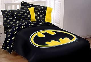 "JPI Batman Emblem Luxury 4pc Comforter Set Reversible Super Soft Twin Size 68""x86"", Black"