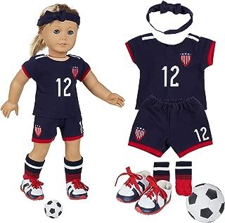"18 Inch Doll Clothes(Team USA 6 Piece Soccer Uniform,Inchudes Shirt,Shorts,Socks,Headwear,Football,Shoes,Fits 18"" American Girl Dolls)"