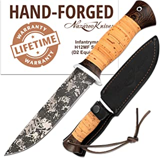 Fixed Blade Knives - Infantryman Standard Edition - Birchbark Handle - Leather Sheath - Damascus and D2 Steel Knife