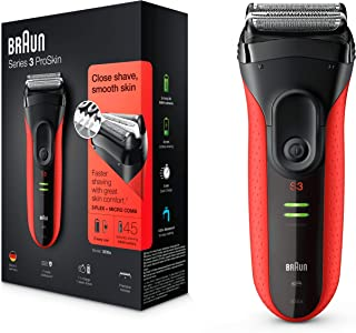 Braun SHAVER 3030s,Series 3 ProSkin Rechargeable, Red/Black, Medium, (Pack of 1)