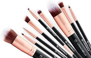 Cosmobella Premium Synthetic Kabuki Makeup Brush Set | Includes Foundation Brushes, Concealers, Eye Shadows, Eye Liner | Ultra Soft, Silky, Firm, Non-Shedding | Luxury Black & Rose Gold (14Pcs)