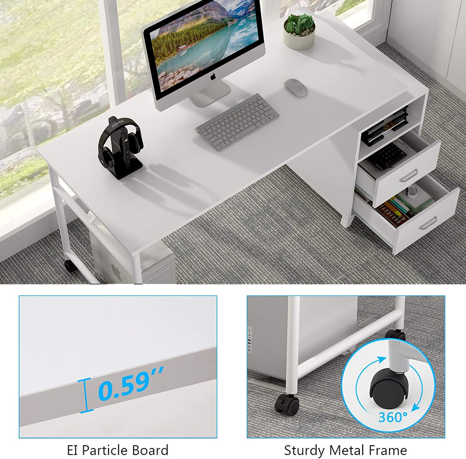 Tribesigns Reversible Computer Desk with Storage Drawers 360/° Free Rotating Home Office Desk 47 inch Modern Study Writing Table Computer Workstation with Cabinet