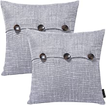Phantoscope Set of 2 Decorative Grey Polyester Multiple Button Throw Pillow Case Cushion Cover 18 x 18 inch 45 x 45 cm