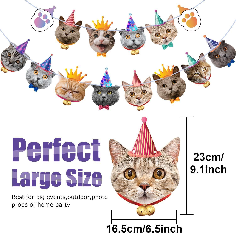 Cat, 14 Pieces Bandiera di Faccia di Cane Piccole Compleano Ghirlanda di Faccia di Cane Banner di Faccia di Cane Decorazione Baby Shower Articoli per Feste