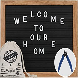 Letter Board - 10'' x 10'' Black Felt Letter Board with 400 Letters, Changeable Letter Board 10x10 Word Board,Business Message Board, Letter Sign with Mounting Hook Canvas Bag +Cute Scissors VAG021