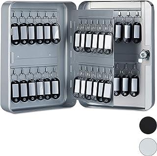 Relaxdays 10025073_111 Boîte à clés, Armoire à Clef Murale, métal, Rangement 48 Crochets, Garage sécurité 25x18x7,5 cm, Gr...