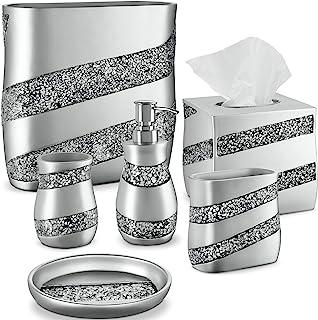 DWELLZA Silver Mosaic Bathroom Accessories Set, 6 Piece Bath Set Collection Features Soap Dispenser, Toothbrush Holder, Tu...