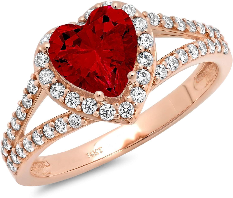 1.72ct Heart Cut Solitaire with Accent Halo split shank Natural Scarlet Red Garnet Gemstone VVS1 Designer Modern Statement Ring Solid 14k Rose Pink Gold Clara Pucci