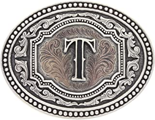 "Montana Silversmiths Men`s Initial""T"" Two-Tone Attitude Belt Buckle - A518t"
