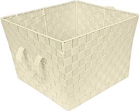 Simplify Large Woven Bin in Black Storage Basket, Ivory, Large