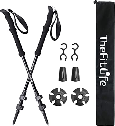 TheFitLife Nordic Walking Trekking Poles – 100% Carbon Fiber Collapsible and Telescopic Hiking Poles, 2-Pack, Ultra Light, Extendable, Walking Sticks for Traveling Camping Mountaineering