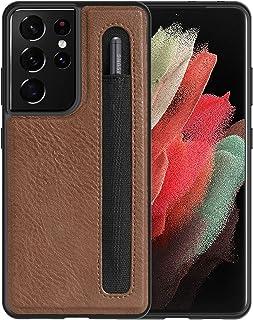 imluckies Lederen Case voor Samsung Galaxy S21 Ultra 5G met S Pen Houder, [Slim Soft TPU ] [Hard PC ] [Premium Lederen Bac...