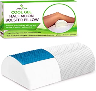 Half Moon Bolster Pillow - Memory Foam Bed Wedge Provide Ultimate Knee & Leg Support for Side Sleepers - Semi Roll Relief Neck, Hip, Lumbar and Back Pain - Rest Cooling Gel Half-Cylinder for Sleeping