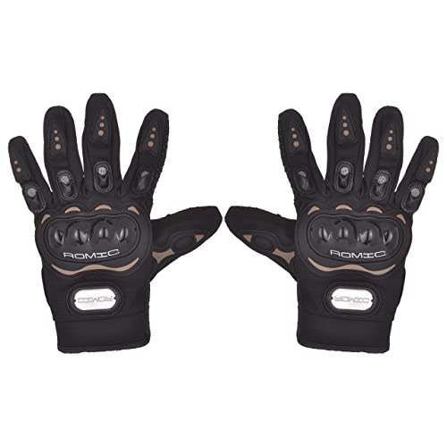 Romic Leather Motorcycle Full Gloves (Black, XL)