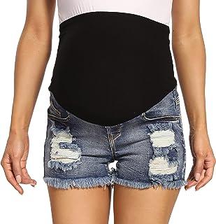V VOCNI Maternity Denim Shorts Women's Frayed Raw Hem Distressed Ripped Jean Denim Shorts Midnight Blue Medium