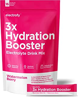Electrofy 3X Hydration Booster 16 Pack | Watermelon Berry | Keto Electrolyte Drink Powder Stick Packets Recovery Mix Hydra...