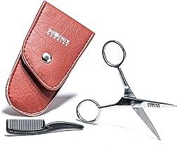 Juego de tijeras profesionales para cejas, extra afiladas, con peine, estuche de viaje, tijeras para uñas y tijeras para el cabello, orejas, nariz, barba, bigote, recto, inoxidable