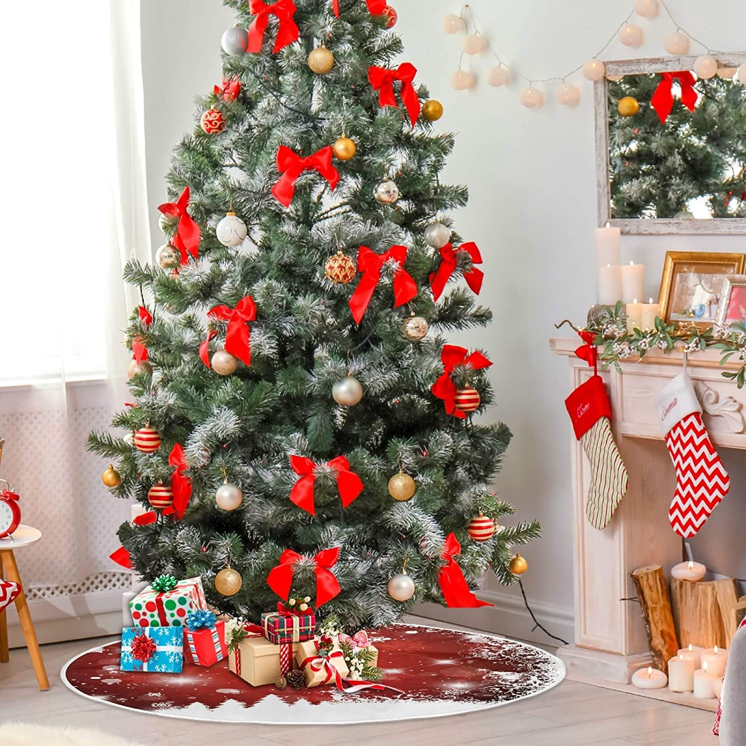120 CM Mnsruu Red Christmas Background With Tree Christmas Tree Skirt Snow Tree Skirts for Christmas Holiday Decorations