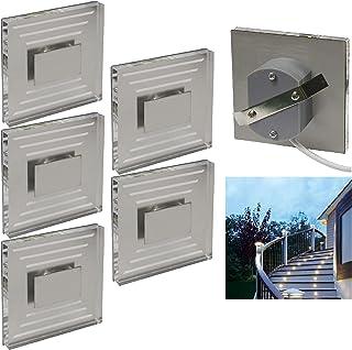 Trango lot de 5 lED iP44 design escaliers mur de lumière d'orientation unipolaire borne enfichable niveaux d'éclairage 230...