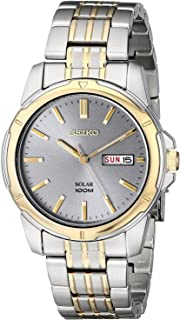 Seiko Men's Two-Tone Charcoal Dial Solar Calendar Watch