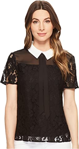 CeCe - Short Sleeve Two-Tone Floral Lace Top