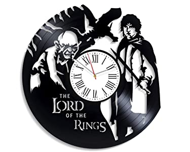 The Lord Of The Rings Frodo Baggins Vintage Vinyl Record Clock Fathers Day Handmade Decor for Nursery Unique Decoration Handmade Wall Sticker Lord of Rings Wall Clock Large