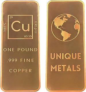 1 Pound .999 Pure Copper Bar Bullion with Element Design - Unique Metals