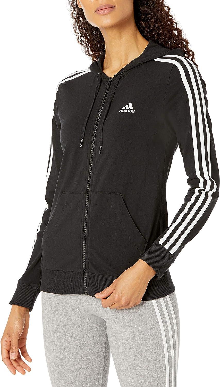 adidas Women's Cheap Essentials Many popular brands Single Full-Zip Jersey Hoodi 3-Stripes