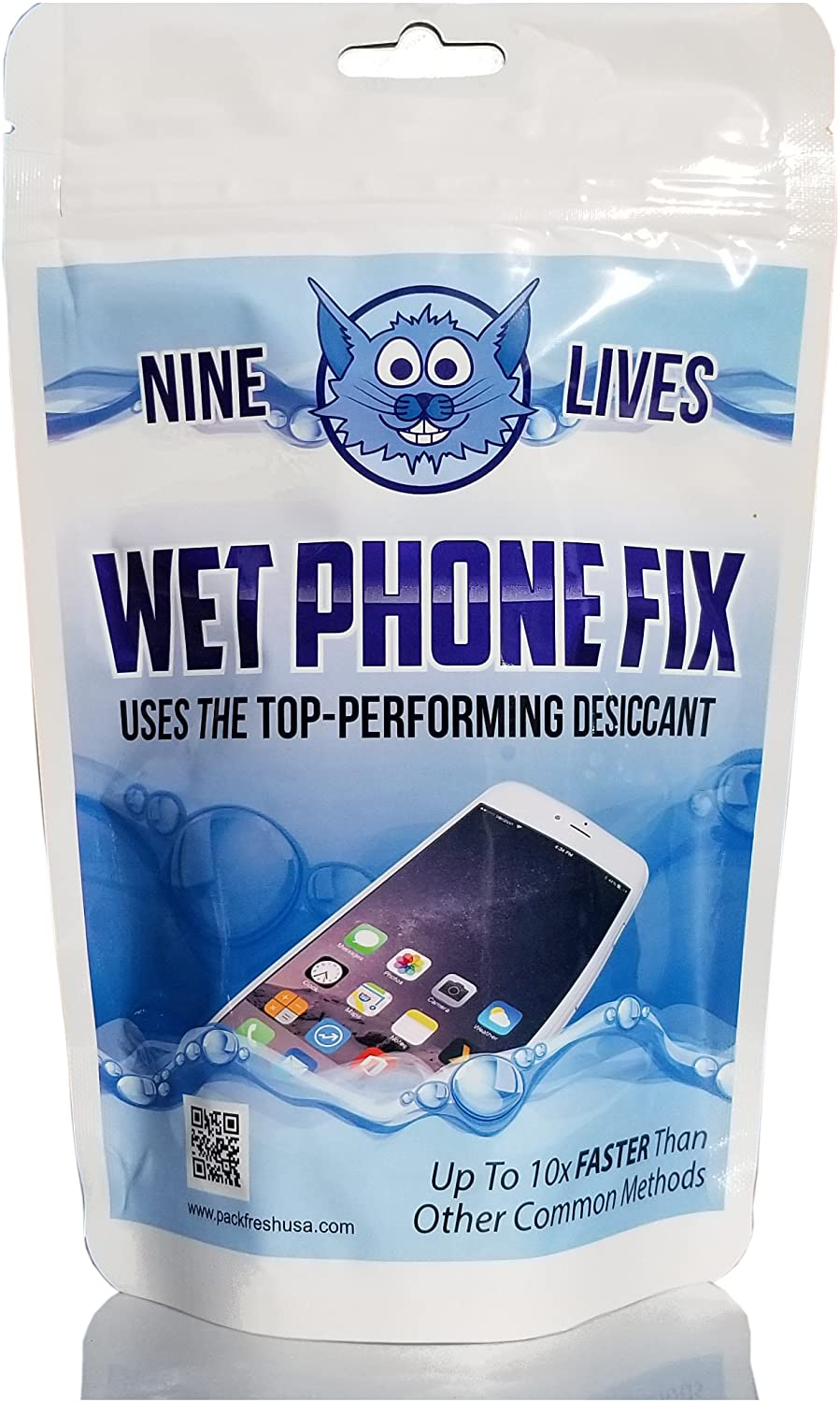 PackFreshUSA: Nine Lives Wet Phone Fix – Premium Desiccant - Water Damage Repair – Moisture Removal – Non-Toxic - Rapid Drying System for Cell Phones and Electronics - 1 Pack