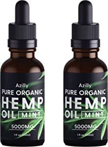 (2 Pack) Pure Organic Hemp Oil Extract 5000mg, Made in USA, for Anxiety, Stress, Pain, Inflammation, Sleep Well, Vegan Friendly, GMO Free, 1oz in Each Bottle