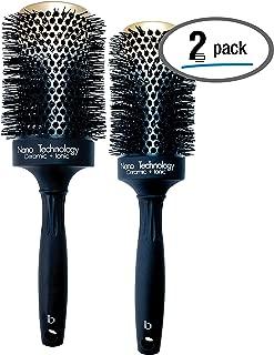 Hairbrush Set (2 Pcs), Round Ceramic Ionic Nano Technology Hairbrush by Better Beauty Products, XL/2 inch/53mm -AND- XXL/2.5 inch/65mm, Barrel with Nylon Bristles, Professional Salon Brush, Black/Gold
