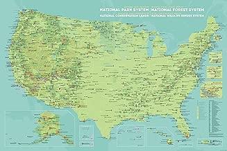 Best Maps Ever NPS x USFS x BLM x FWS Interagency Map 24x36 Poster (Green & Aqua)