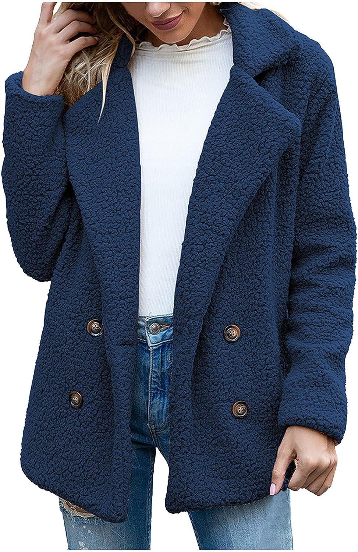 Womens Fleece Open Front Sherpa Coat with Pockets Outerwear Warm Jacket Winter Solid Coat Turn Coat Sweater