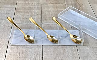 Lucite By Design Acrylic Lucite Three Section Dish with Included Lid - Avaliable in Grey Marble and Blue - Makes a Perfect Dish for ANYTHING - Great for Dips - Sleek Candy Dish (Grey Marble/Clear)
