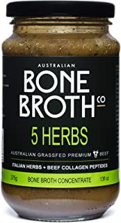 5 Herb Bone Broth Concentrate - New 13 floz Jar (375 grams) - Premium beef bone broth+ Italian Herbs + Collagen Peptides -Improve your well being, joint + bone health Made in Australia
