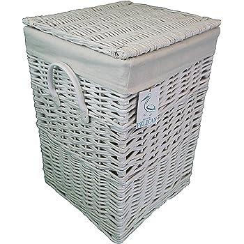 Cesta de mimbre cuadrada Pop-it-in-a-pelican Gris, marrón y blanco. Cesta forrada de algodón. Con tapa de sauce. Lavadero y cesto de ropa., ratán y mimbre, Blanco, 60 ltr: Amazon.es: Hogar