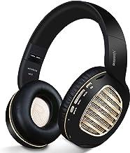 هدفون بلوتوث ، Riwbox WB5 بلوتوث 5.0 هدفون تاشو بی سیم بالای گوش با میکروفون ، 5 حالت صدا EQ ، گوشواره های نرم و حافظه با پروتئین ، هدفون بی سیم و سیم برای رایانه (طلای سیاه)