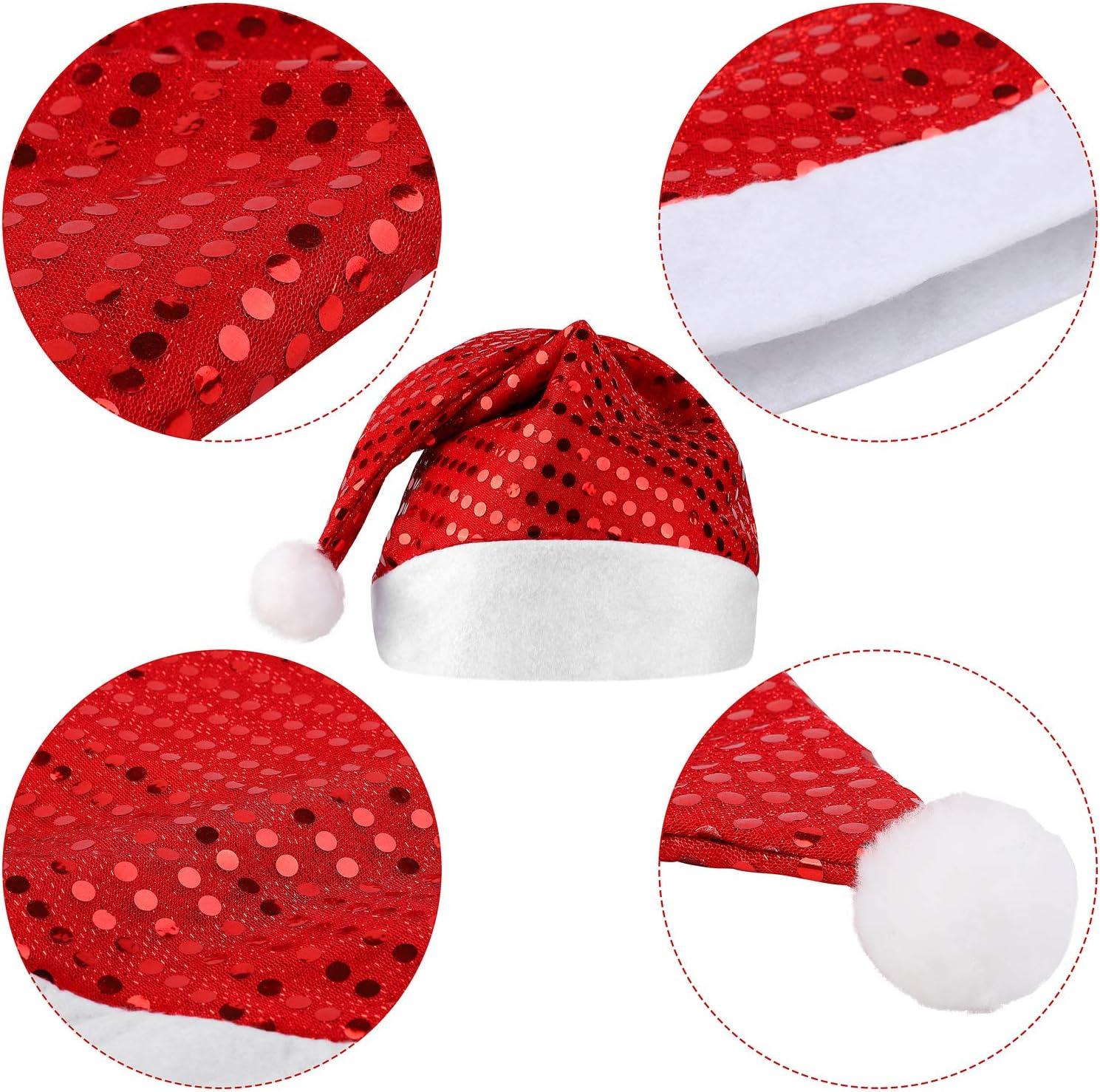 Elcoho Lot de 4 chapeaux de P/ère No/ël pour adultes /à paillettes rouges pour d/écorations de f/ête de No/ël