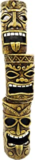 Alpine Corporation 3-Tier Tiki Totem Statue with Solar LED Lights - Outdoor Decor for Garden, Patio, Deck, Porch - Yard Art Decoration - 20 Inches Tall