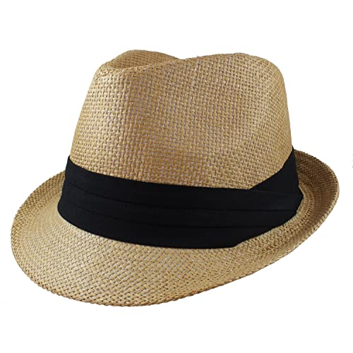 65f01f3b899 Gelante Summer Fedora Panama Straw Hats with Black Band