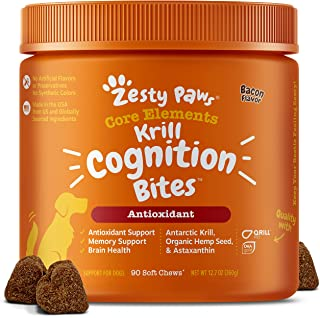 Zesty Paws Omega 3 Krill Fish Oil for Dogs - Hip & Joint Arthritis Relief + Skin & Coat - with Qrill Pet Meal & Dhagold + ...