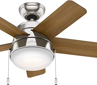 Hunter Fan 36 inch Modern Ceiling Fan with LED Light in Brushed Nickel (Renewed)