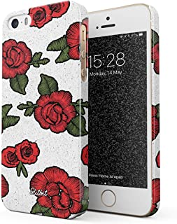 562047f6f26 Glitbit Funda para iPhone 5 / 5s / SE Case Embroidered Print Red Rose  Stylish Tumblr
