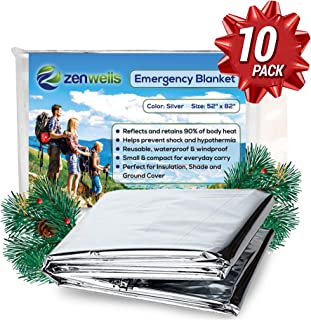 ZENWELLS Emergency Blanket (10-Pack or 5-Pack) - Space Thermal First Aid Blanket for Emergency Survival Kit, Car Tactical Gear, Outdoor, Hiking, Backpack, Travel & Disaster Preparedness Equipment