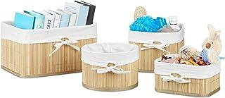 Relaxdays Boîte de rangement en bambou lot de 4 HxlxP 17,5 x 32 x 23 cm pour armoire et placard, nature