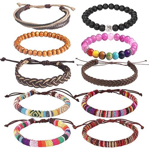 2e53ae3a1 Lateefah Wrap Bead Braided Tribal Leather Bracelet - 12 Pack Boho Hemp String  Bracelet for Men