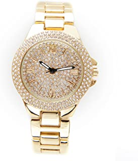 Diamonds are a Girls Best Friend Iced Out Watch Dial Ladies Beautiful Bling Bling Watch - 7841Gold